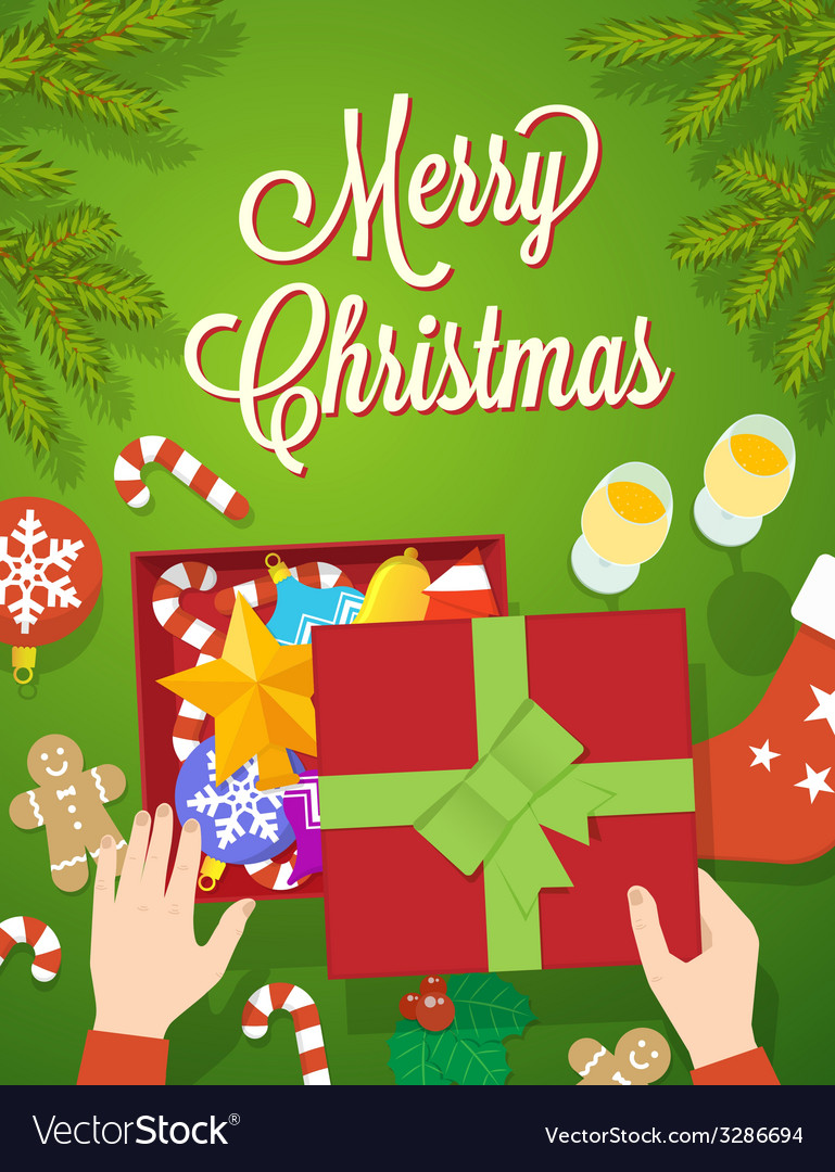 Flat style christmas greeting card vector | Price: 1 Credit (USD $1)