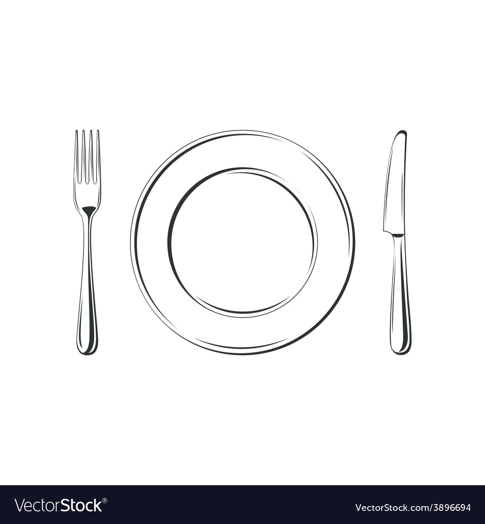 Knife fork and plate isolated on white vector | Price: 1 Credit (USD $1)