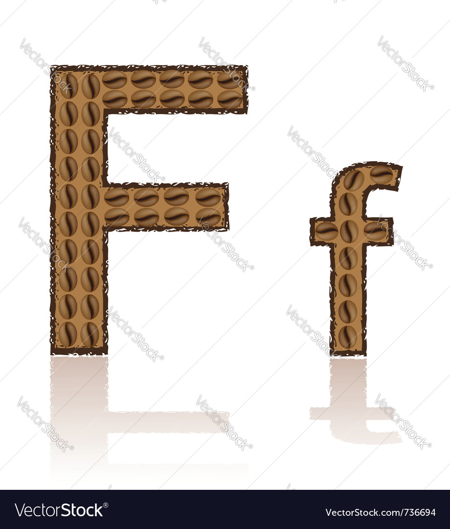 Letter f is made grains of coffee isolated on whit vector | Price: 1 Credit (USD $1)