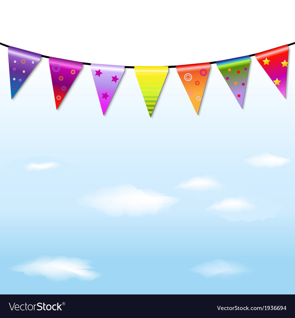 Rainbow bunting banner garland with sky vector | Price: 1 Credit (USD $1)