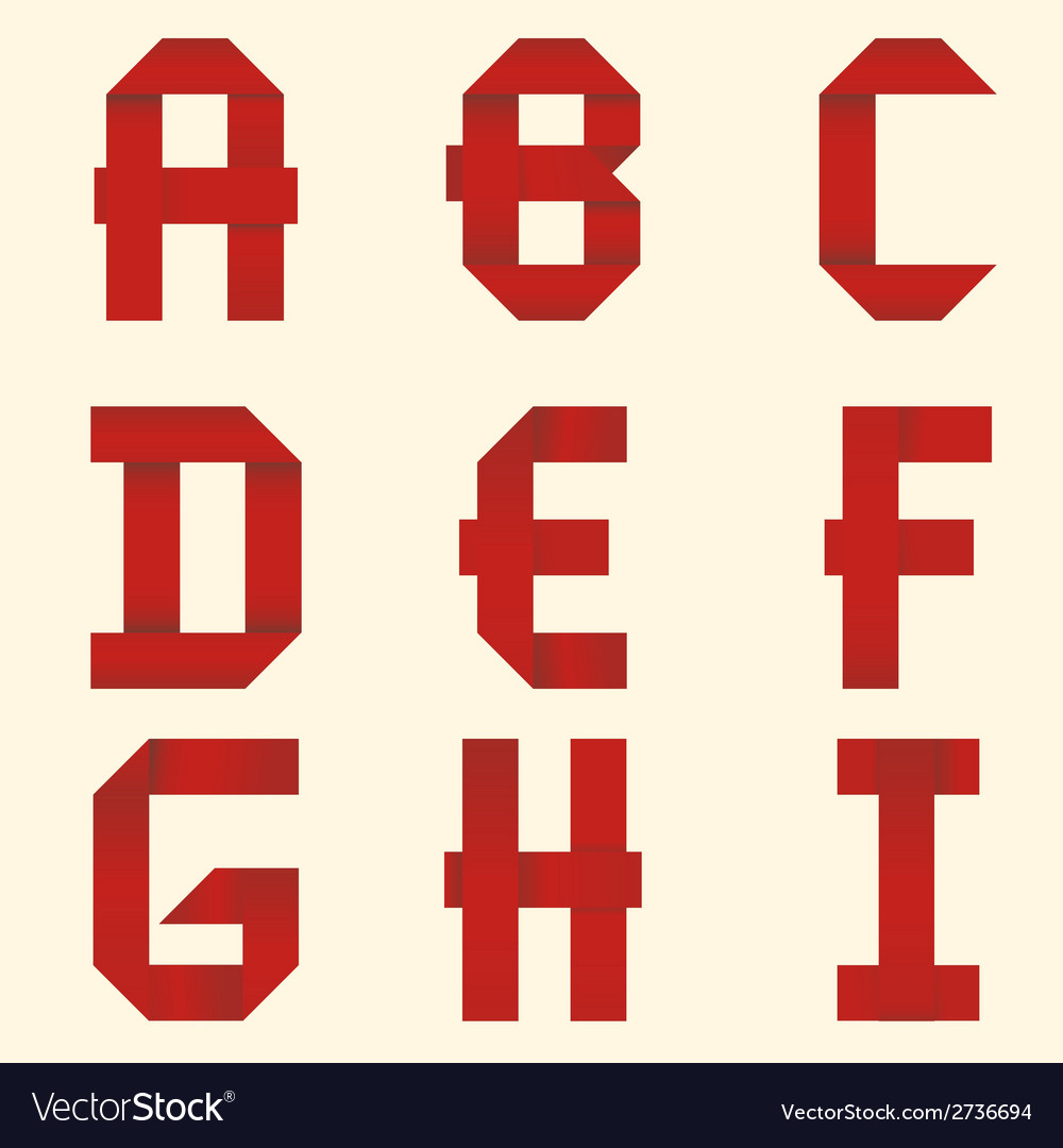 Ribbon red alphabet vector | Price: 1 Credit (USD $1)