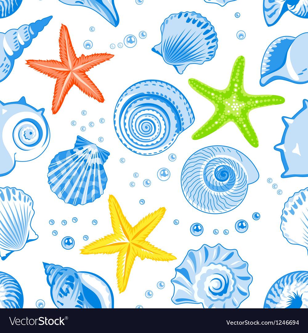 Seashells seamless pattern vector | Price: 1 Credit (USD $1)