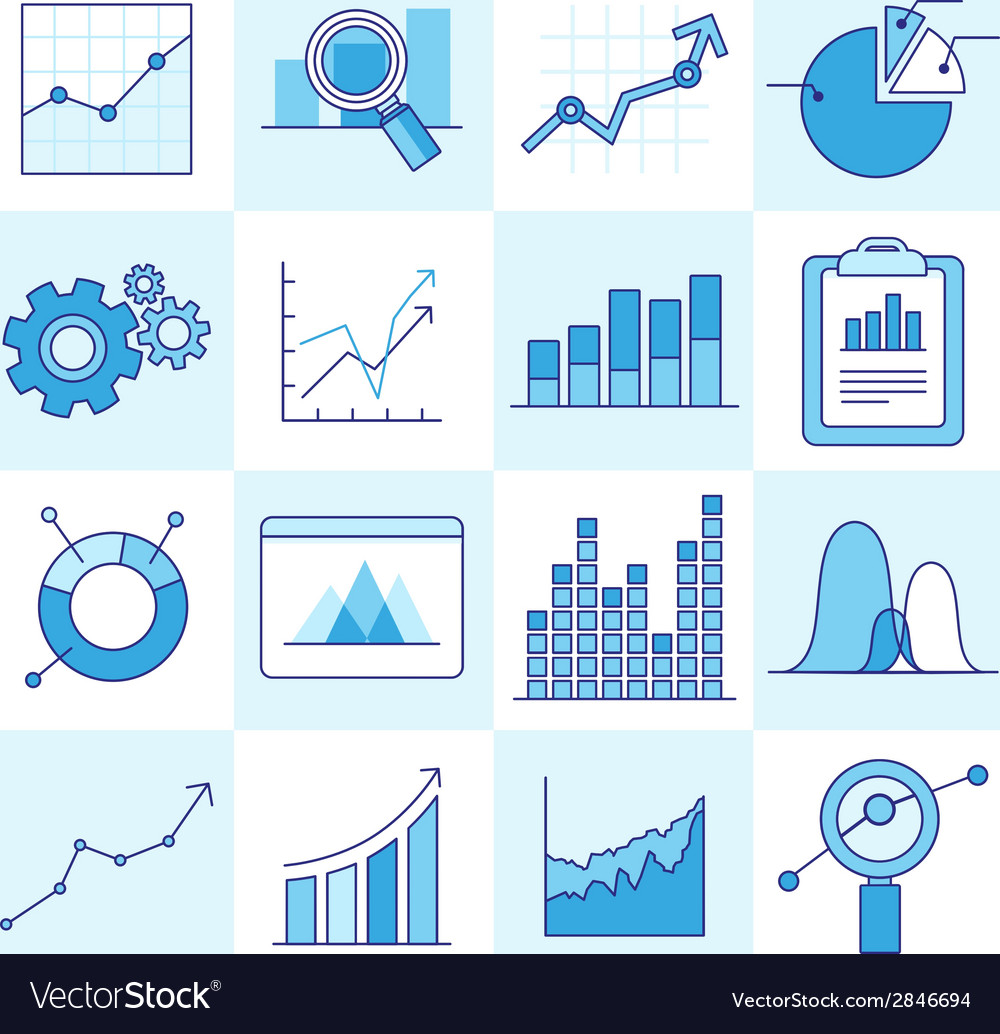Set of business graphs vector | Price: 1 Credit (USD $1)