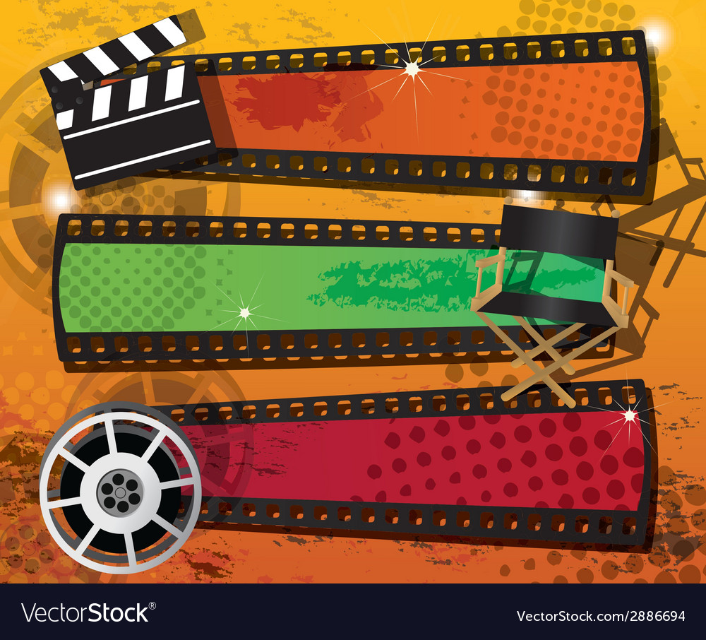Set of three movie banners on grungy background vector | Price: 1 Credit (USD $1)
