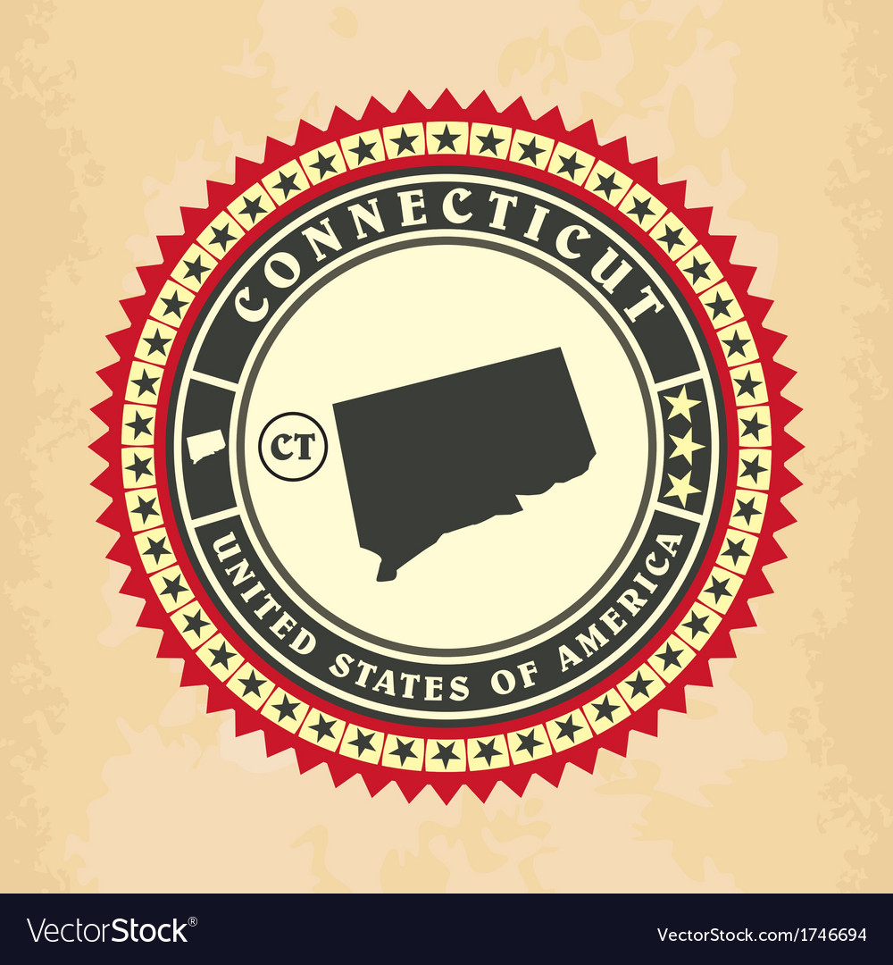 Vintage label-sticker cards of connecticut vector | Price: 1 Credit (USD $1)