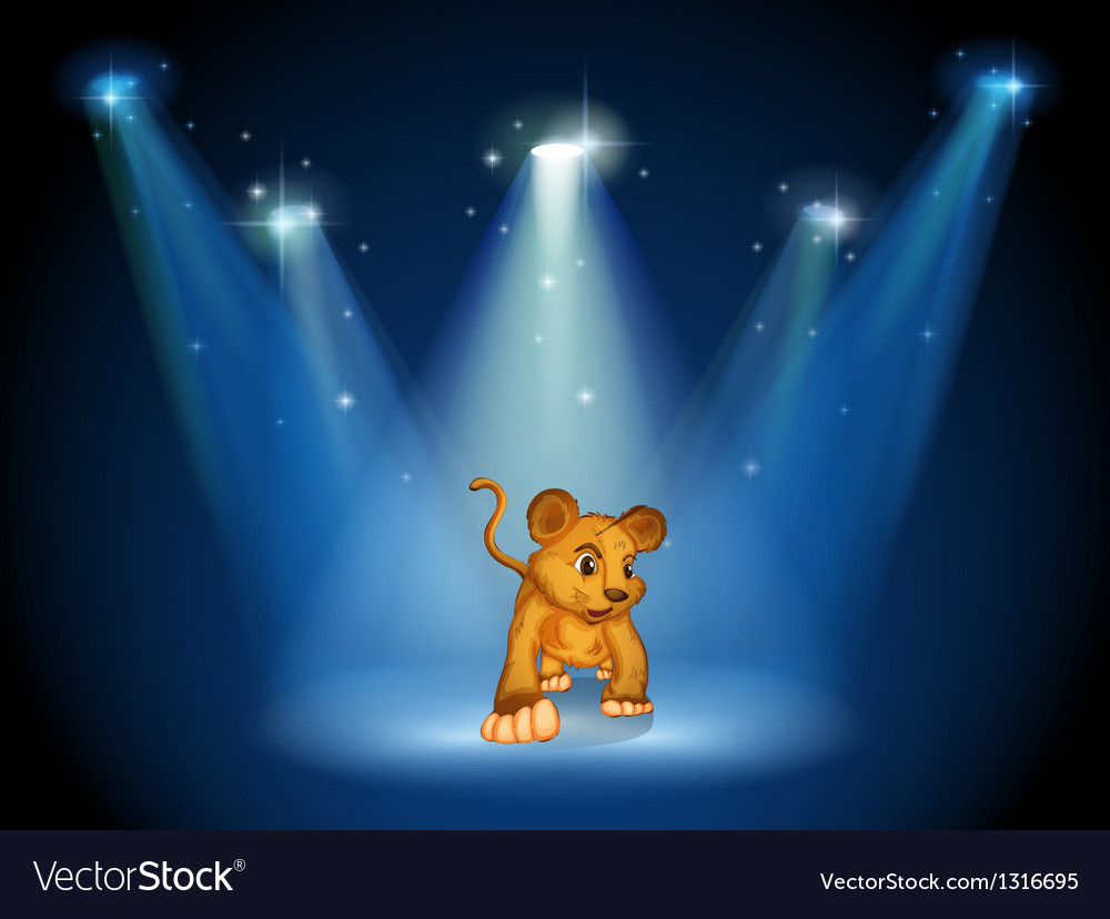 A tiger at the stage with spotlights vector | Price: 1 Credit (USD $1)