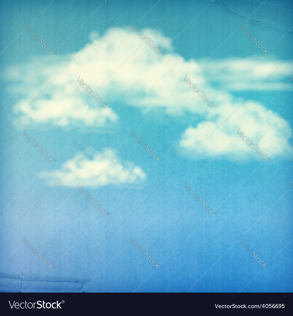 Blue sky white clouds vintage background vector | Price: 3 Credit (USD $3)