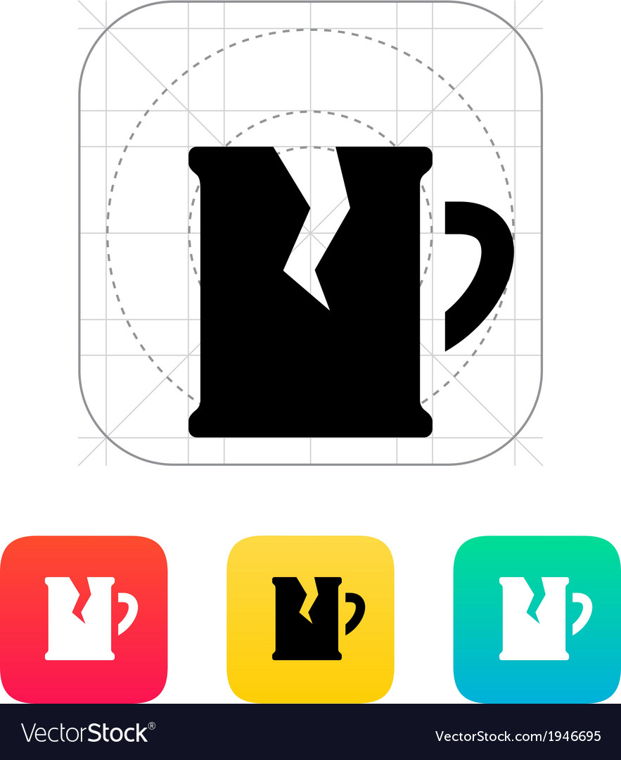 Broken beer mug icon vector | Price: 1 Credit (USD $1)