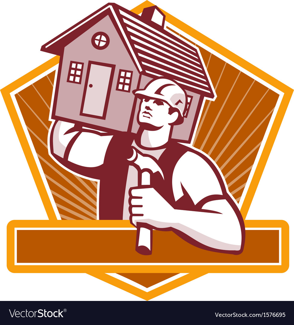 Builder carpenter carry house retro vector | Price: 3 Credit (USD $3)