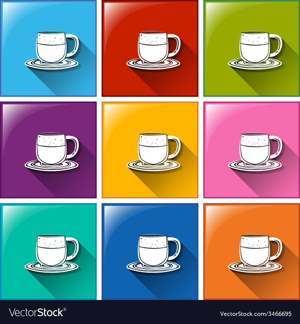 Buttons with cups and saucers vector | Price: 1 Credit (USD $1)