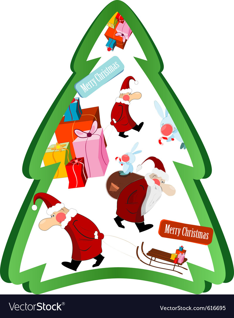 Christmas tree with santa claus vector | Price: 3 Credit (USD $3)