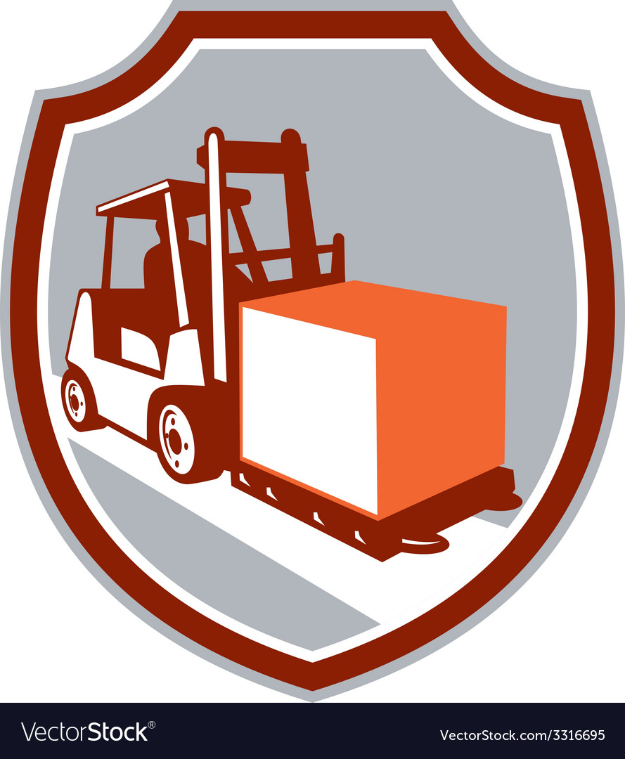 Forklift truck box shield retro vector | Price: 1 Credit (USD $1)