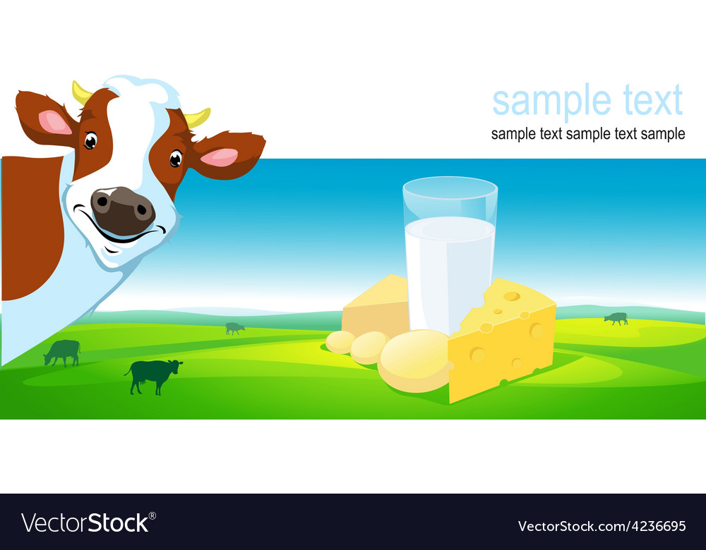 Horizontal design with cow dairy product and vector | Price: 1 Credit (USD $1)