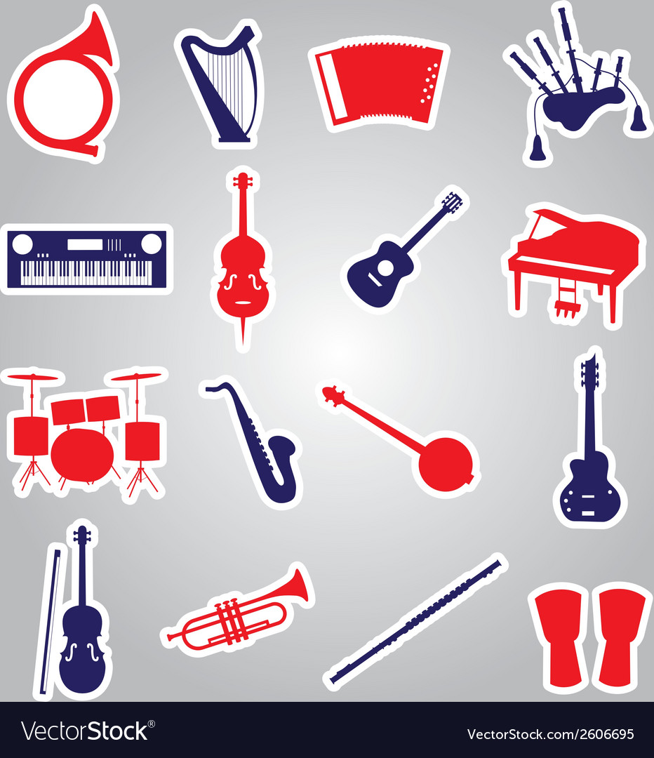 Musical instruments stickers eps10 vector | Price: 1 Credit (USD $1)