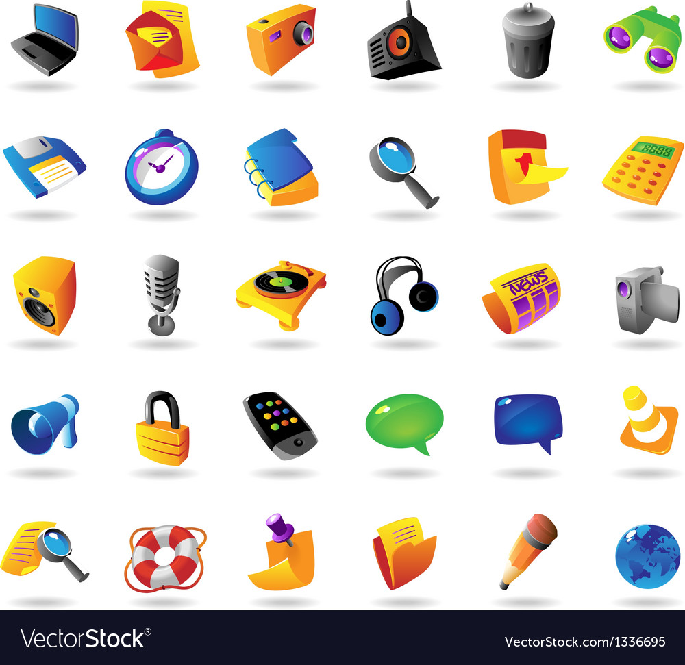 Realistic icons set for interface vector | Price: 1 Credit (USD $1)