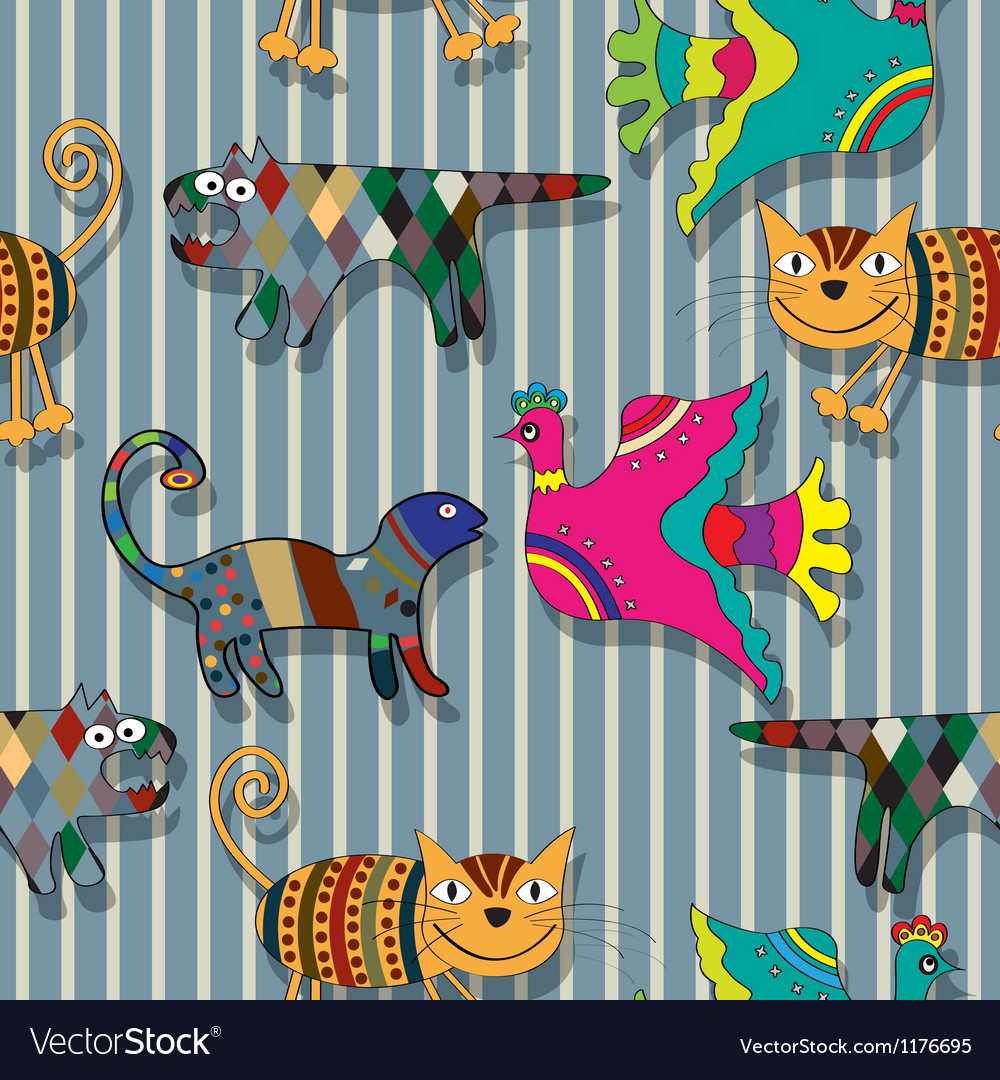 Seamless childlike drawing pattern vector | Price: 1 Credit (USD $1)