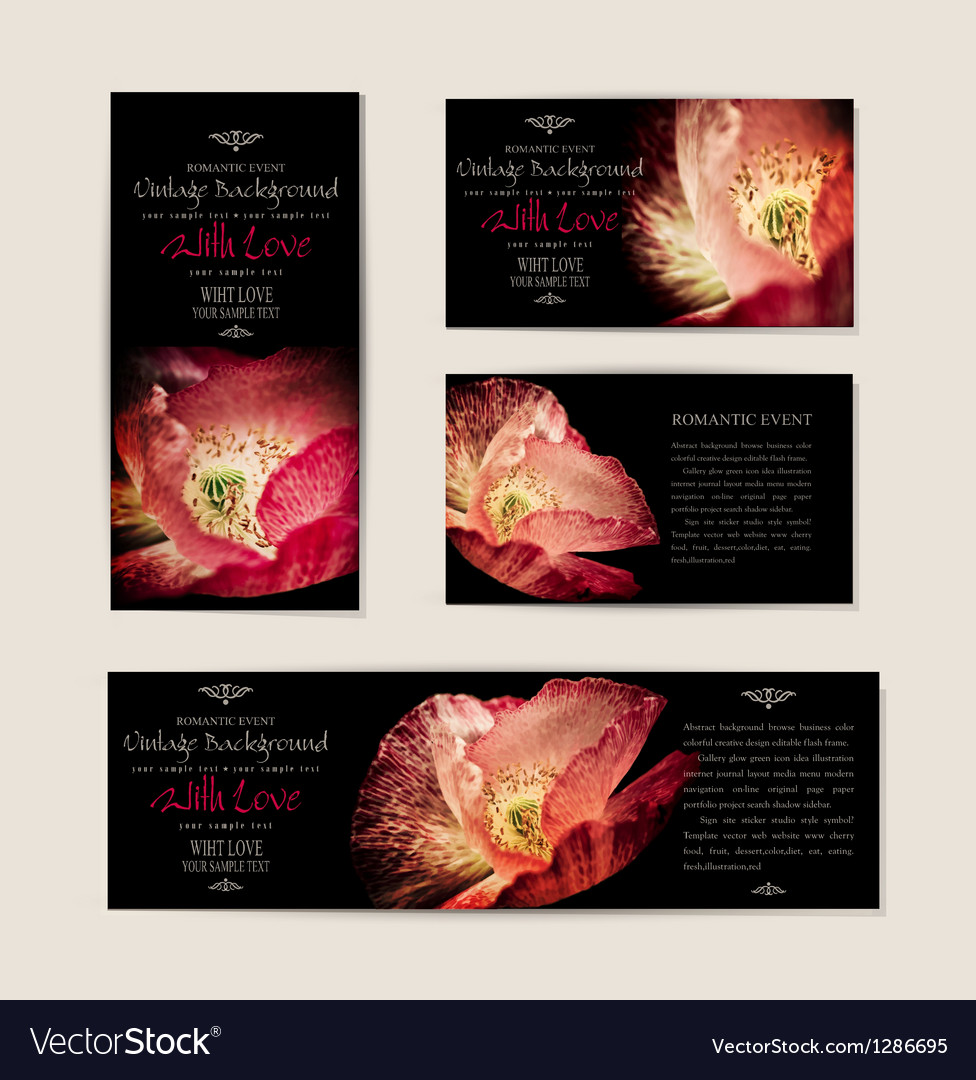 Set black elegant cards with red poppies vector | Price: 1 Credit (USD $1)