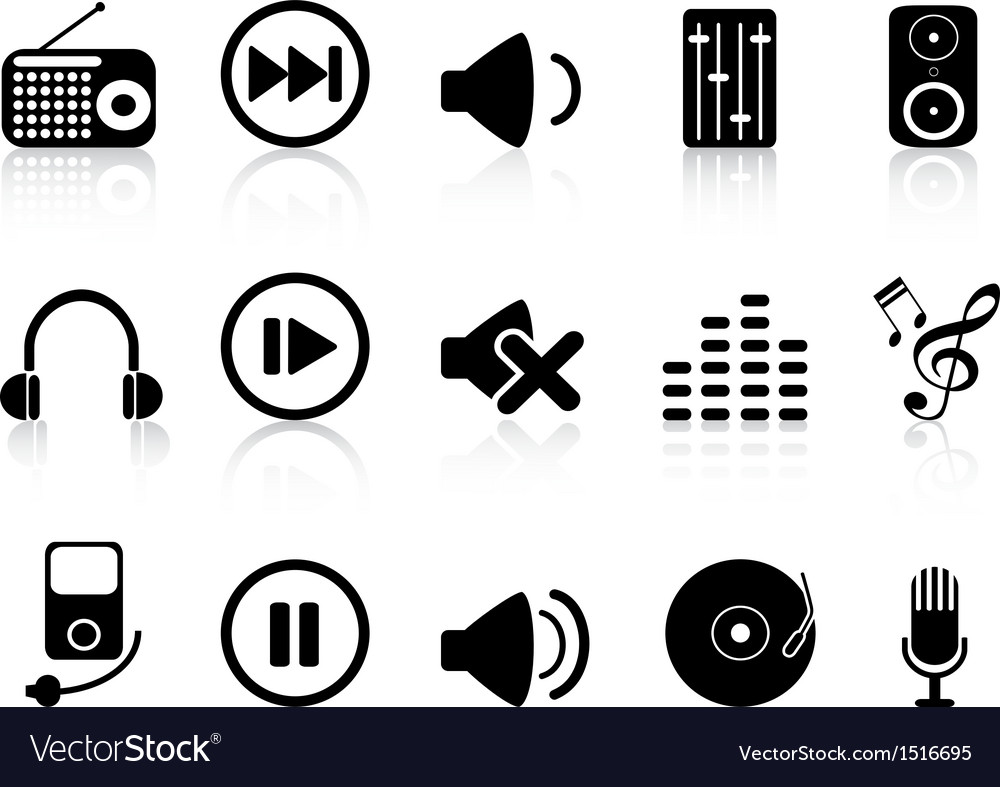 Sound icons set vector | Price: 1 Credit (USD $1)