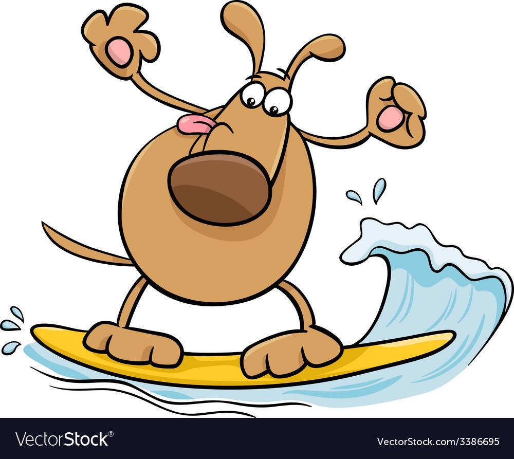 Surfing dog cartoon vector | Price: 1 Credit (USD $1)