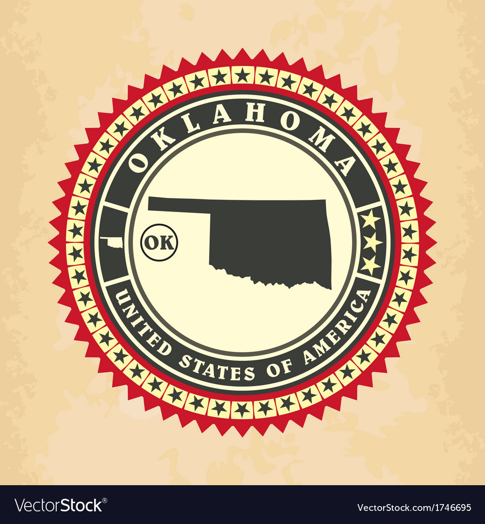 Vintage label-sticker cards of oklahoma vector | Price: 1 Credit (USD $1)