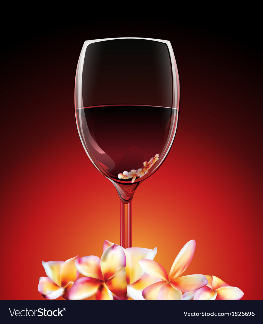 A glass of wine with flowers vector | Price: 1 Credit (USD $1)