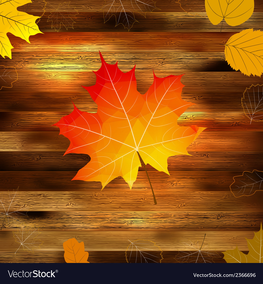 Autumn leaves on wooden background eps10 vector | Price: 1 Credit (USD $1)
