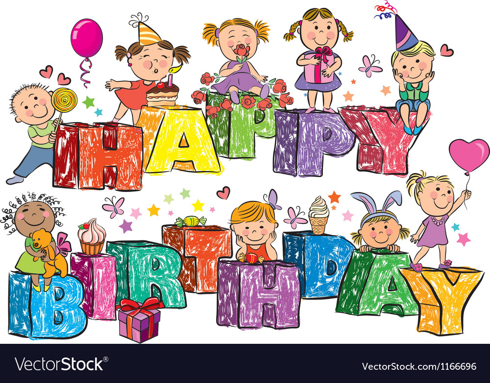 Happy birthday kids on letters vector | Price: 3 Credit (USD $3)