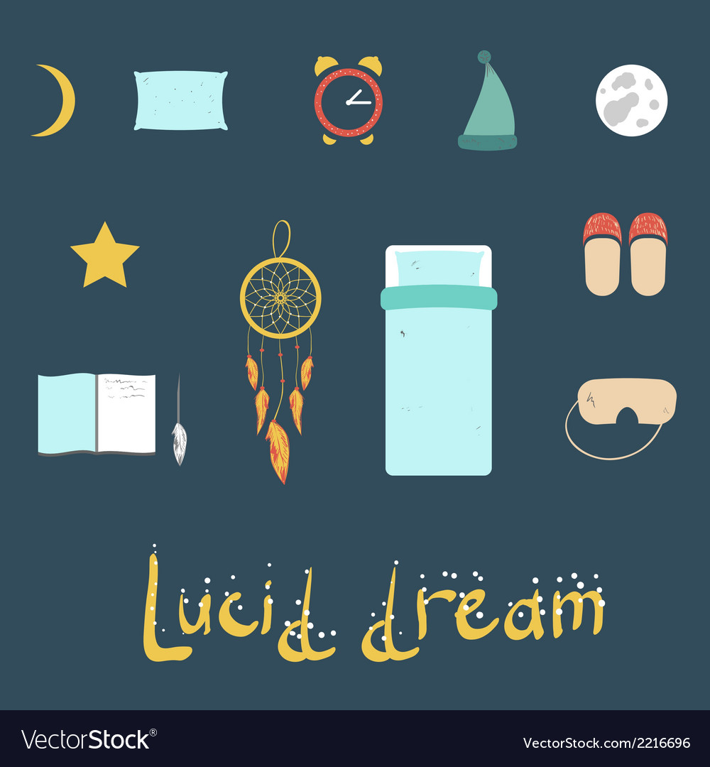 Set of icons on a theme of lucid dream vector | Price: 1 Credit (USD $1)