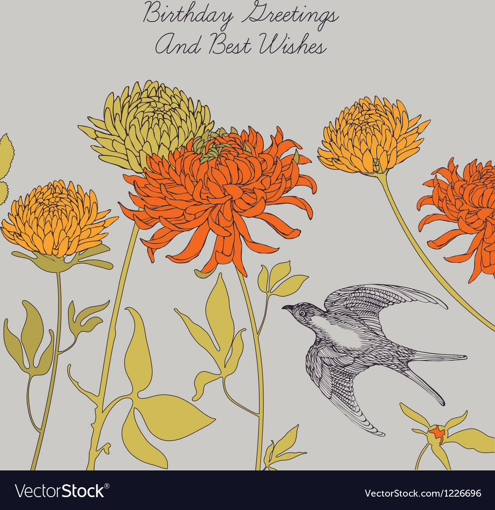 Swallow and flowers vector | Price: 1 Credit (USD $1)