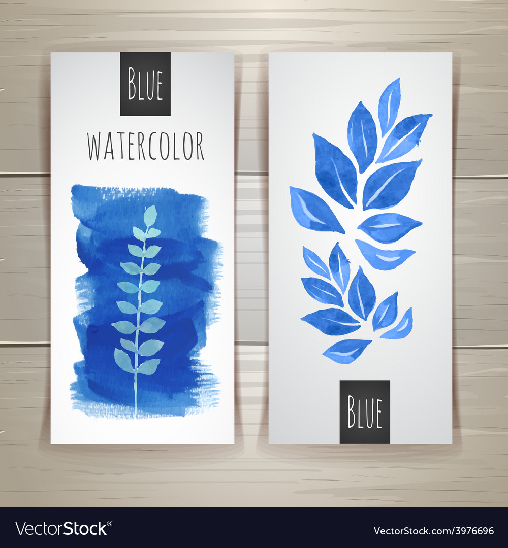 Watercolor brush strokes with floral elements vector | Price: 1 Credit (USD $1)