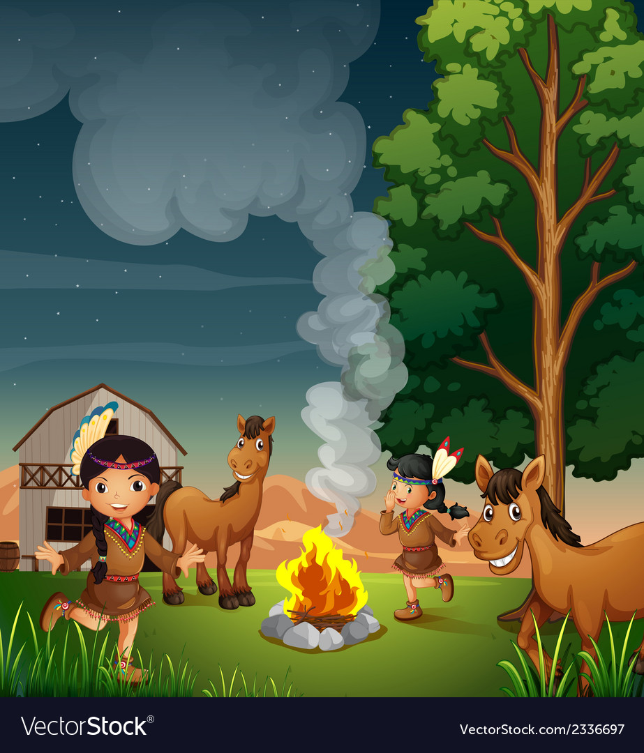 A farm with indian girls vector | Price: 3 Credit (USD $3)