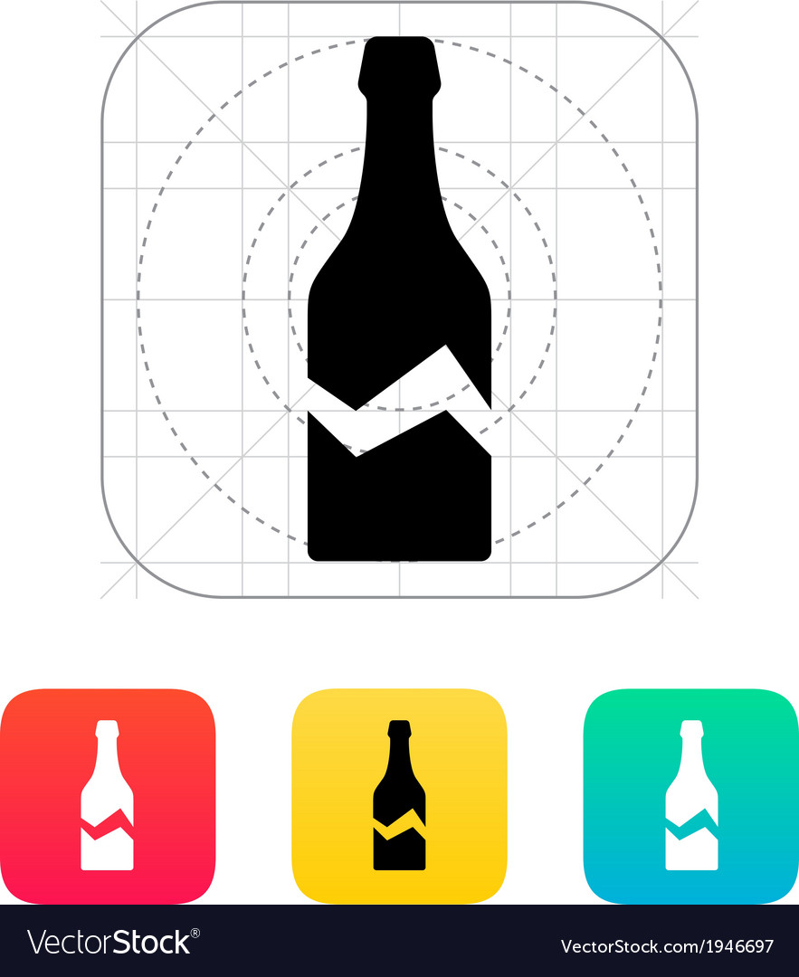 Broken bottle icon vector | Price: 1 Credit (USD $1)