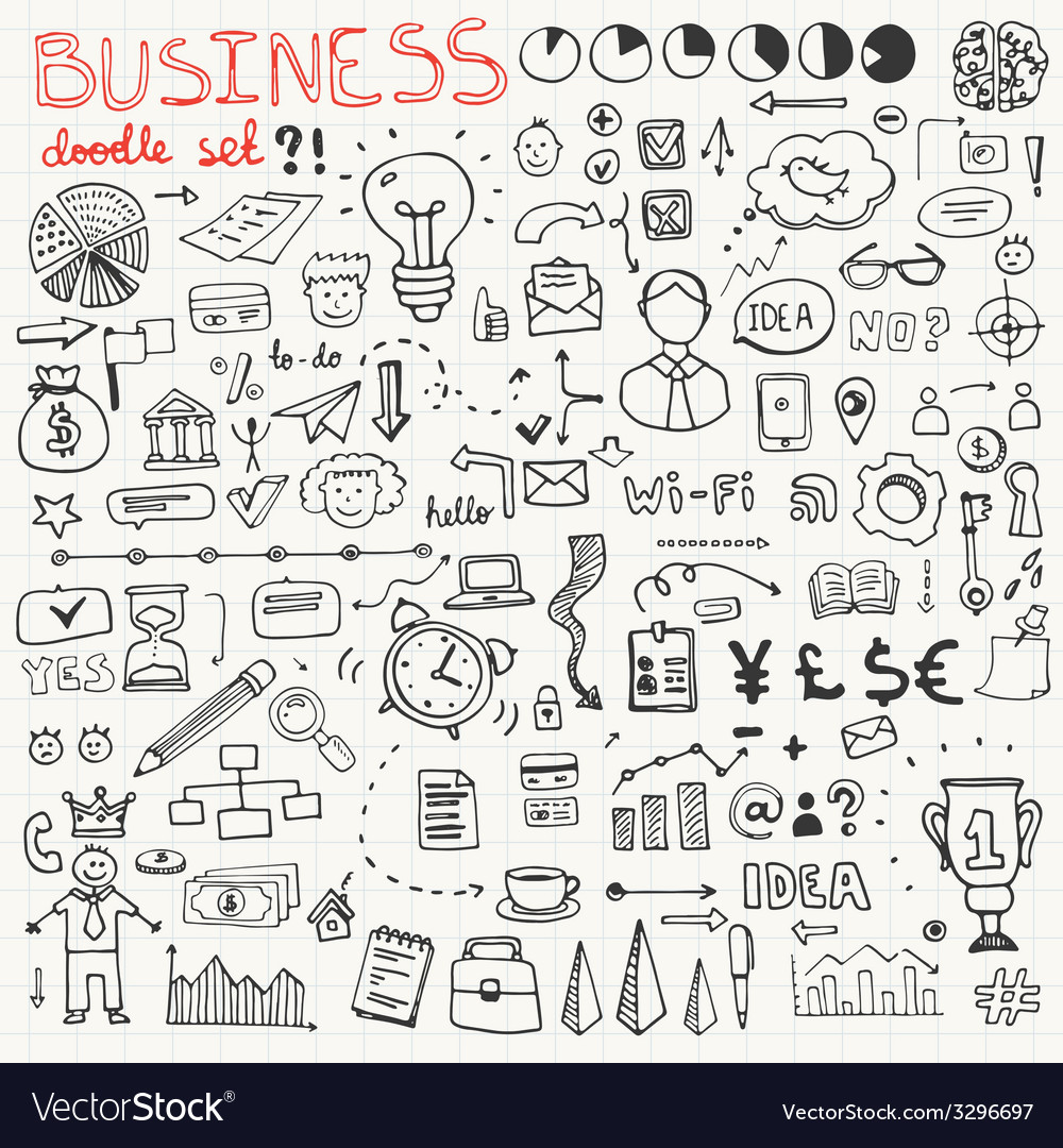Business doodle element set vector | Price: 1 Credit (USD $1)