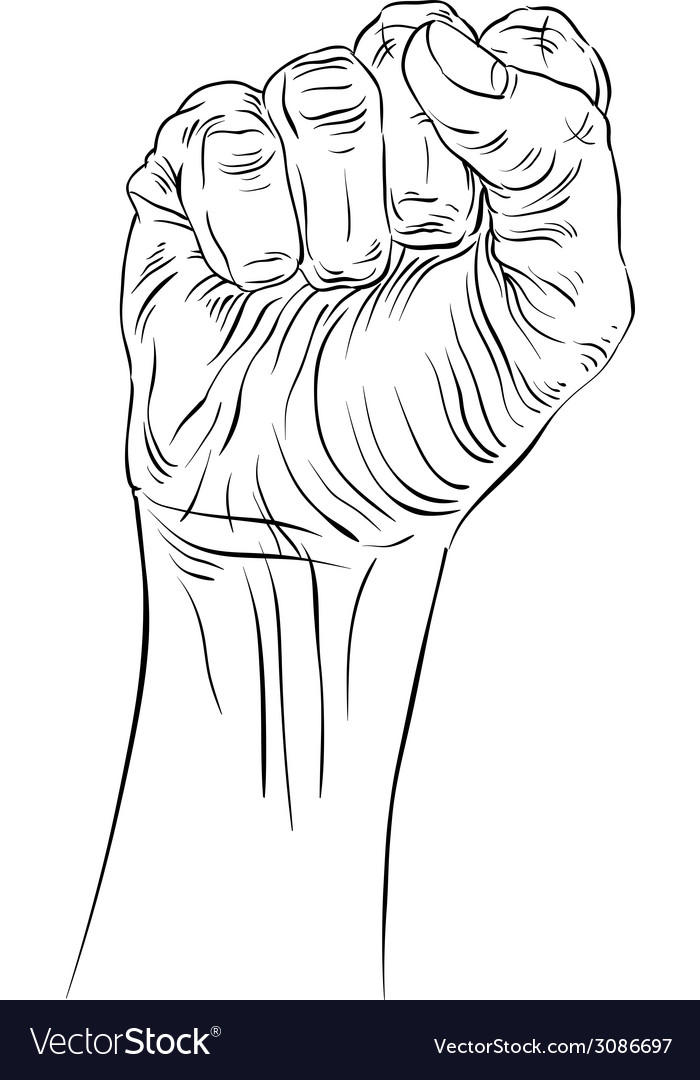 Clenched fist held high in protest hand sign vector | Price: 1 Credit (USD $1)