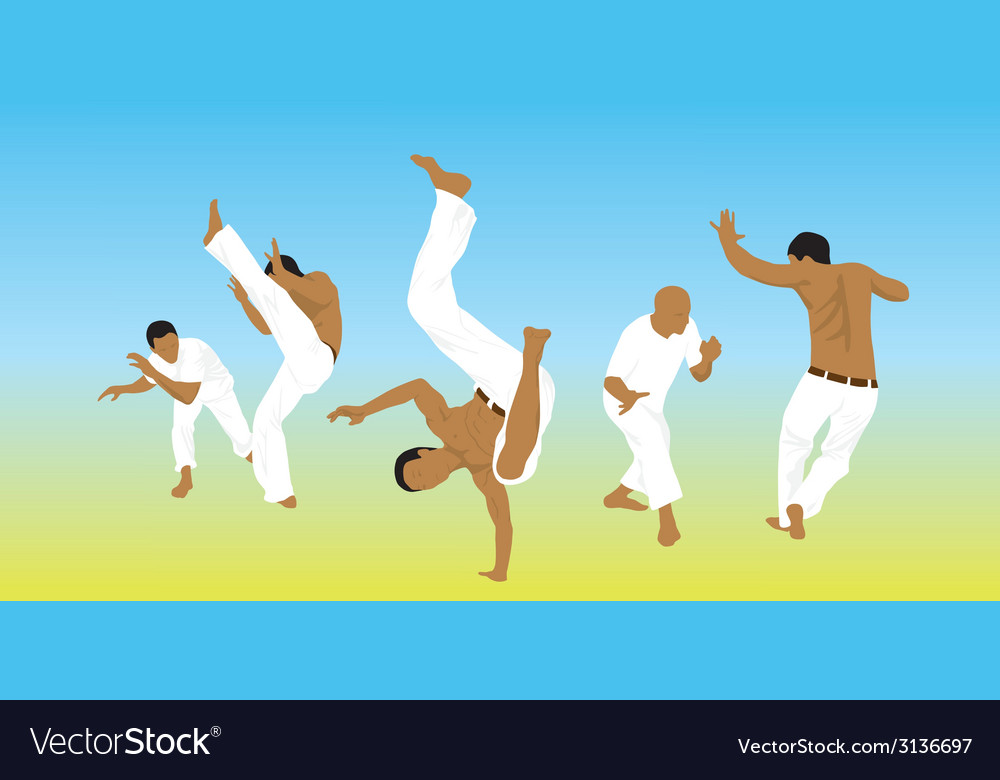 Five men are engaged capoeira on sand vector | Price: 1 Credit (USD $1)