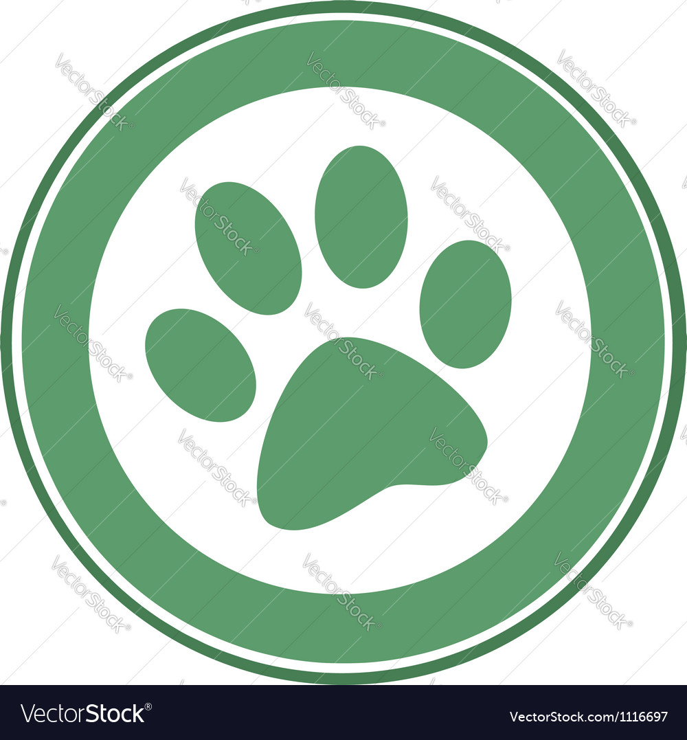 Green paw print banner vector | Price: 1 Credit (USD $1)