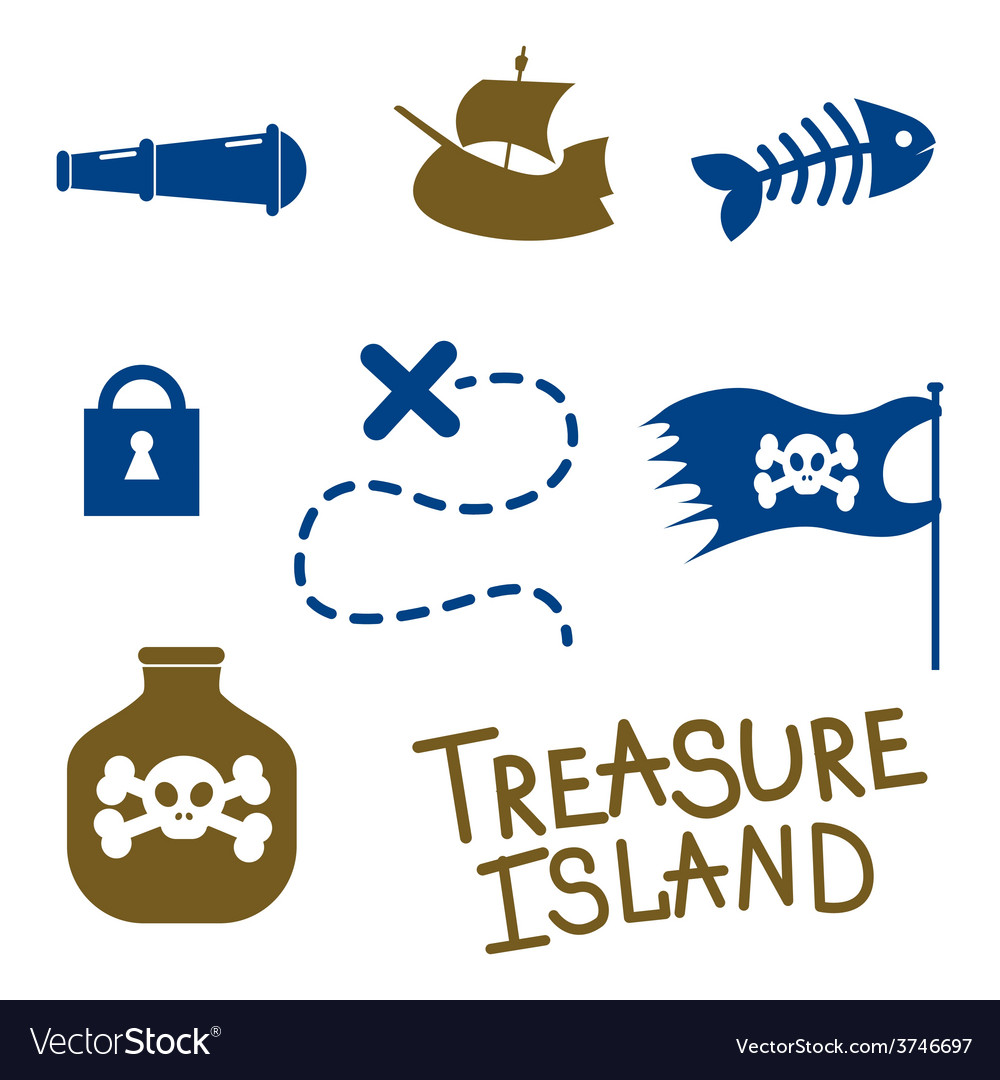 Tresure island game icons vector | Price: 1 Credit (USD $1)
