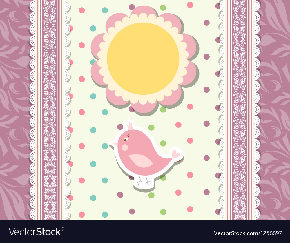 Vintage doodle bird for frame vector | Price: 1 Credit (USD $1)