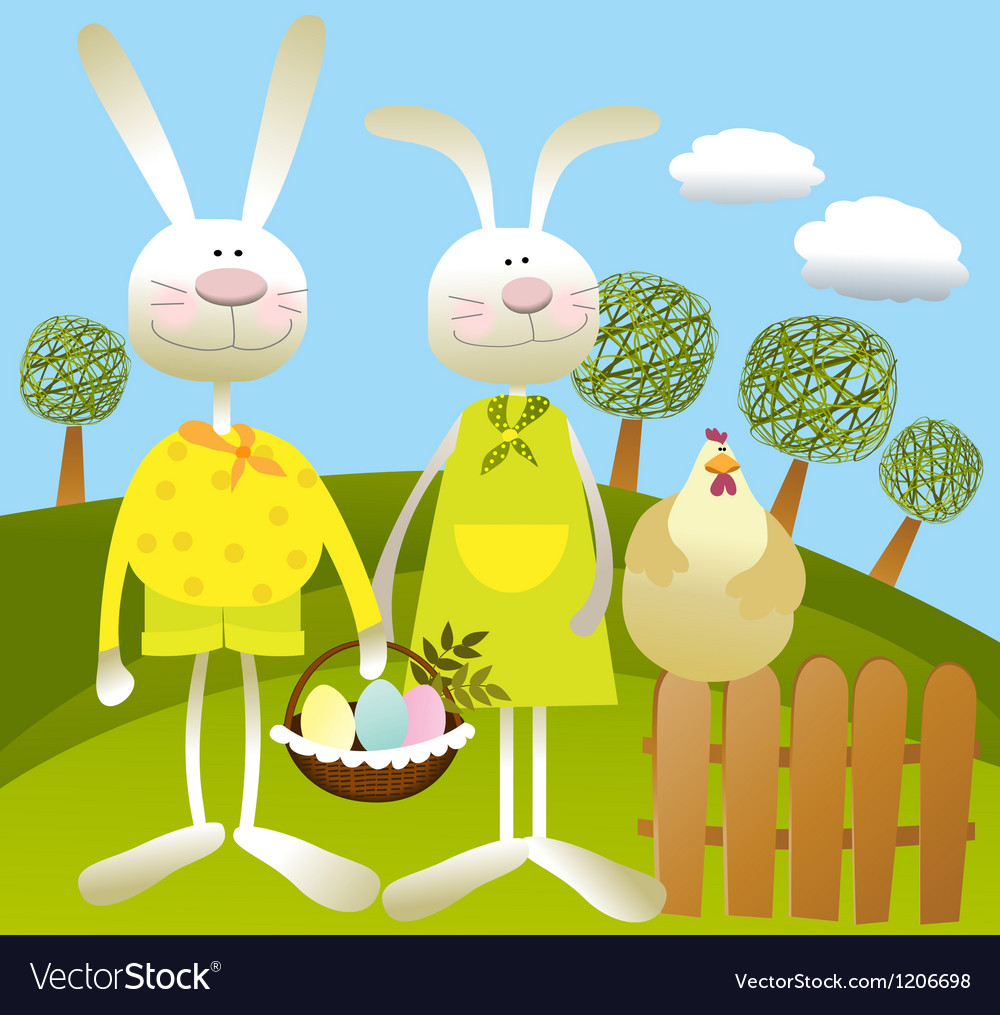 Cartoon easter background vector | Price: 3 Credit (USD $3)