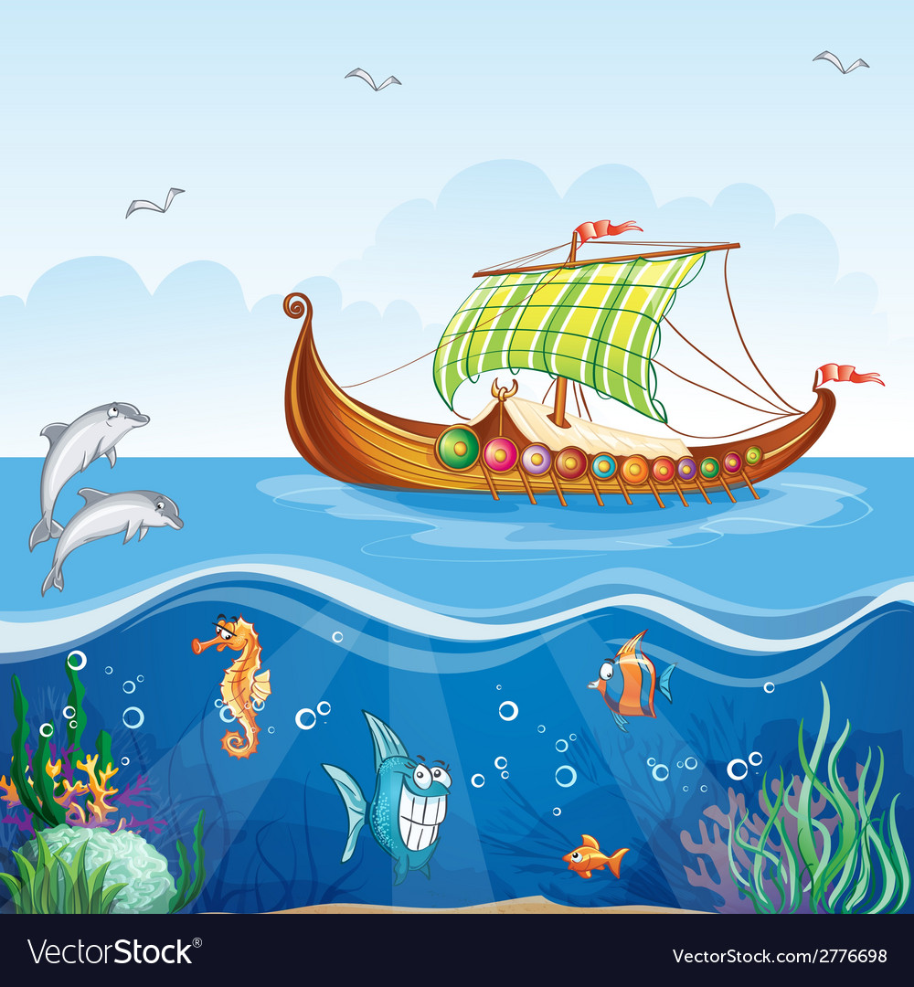 Cartoon image of the water world with merchant vector | Price: 3 Credit (USD $3)