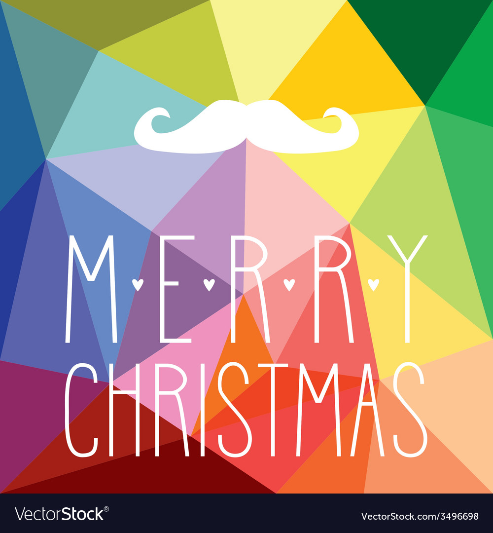 Christmas hipster card with mustache vector   Price: 1 Credit (USD $1)