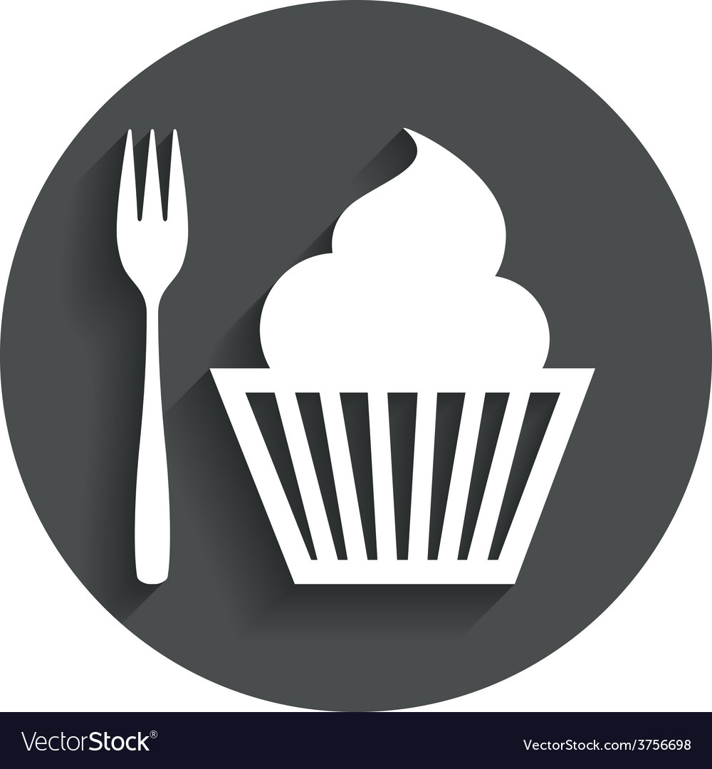 Eat sign icon dessert fork with muffin vector | Price: 1 Credit (USD $1)