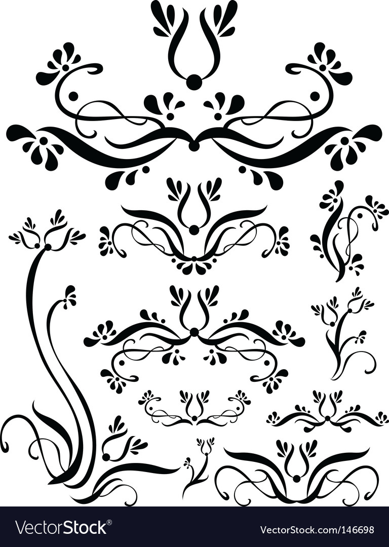 Floral scroll set vector | Price: 1 Credit (USD $1)