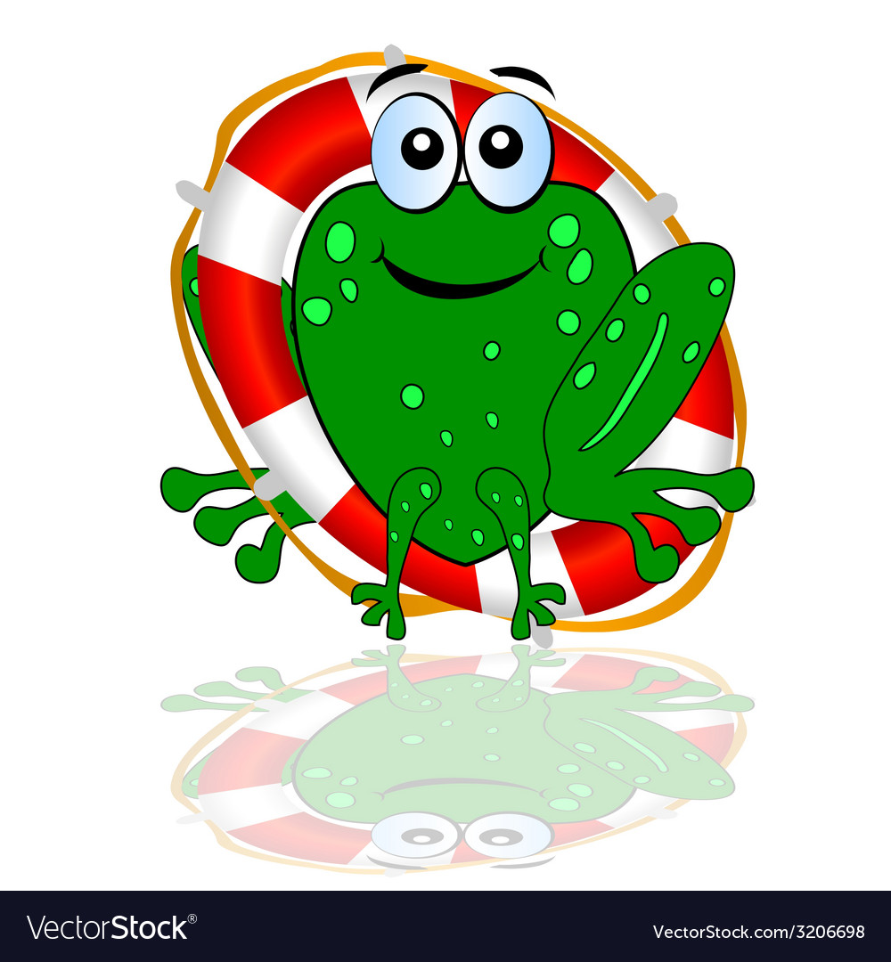 Frog with red lifesaver vector   Price: 1 Credit (USD $1)