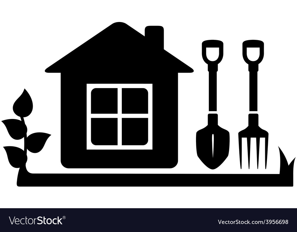 Gardening tools icon with garden house vector | Price: 1 Credit (USD $1)