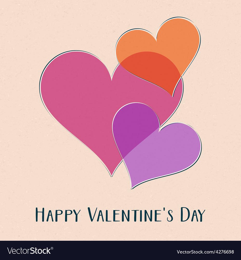Happy valentine day retro card vector | Price: 1 Credit (USD $1)