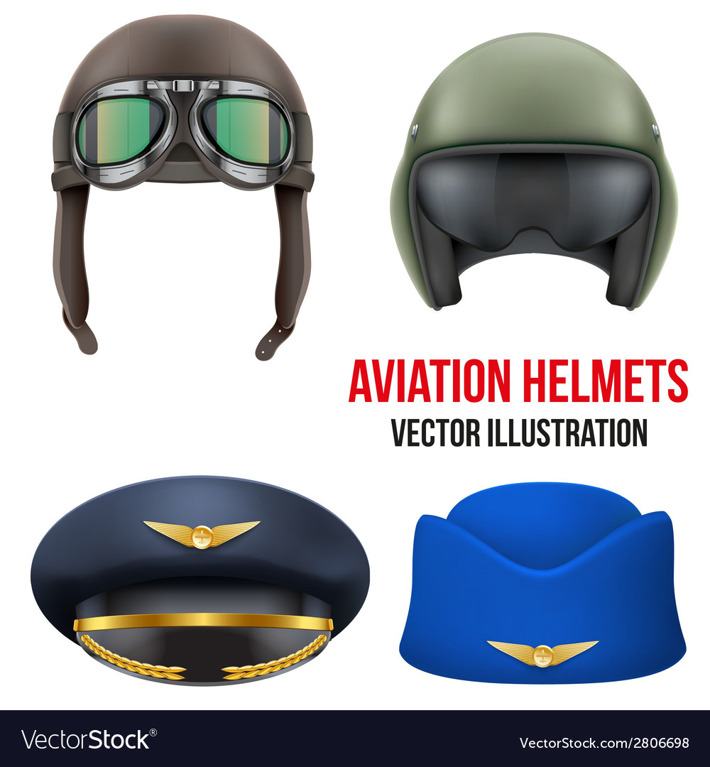Retro aviator pilot helmet with goggles isolated vector | Price: 1 Credit (USD $1)