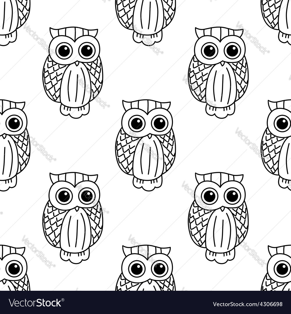 Vintage cute black owls seamless pattern vector | Price: 1 Credit (USD $1)