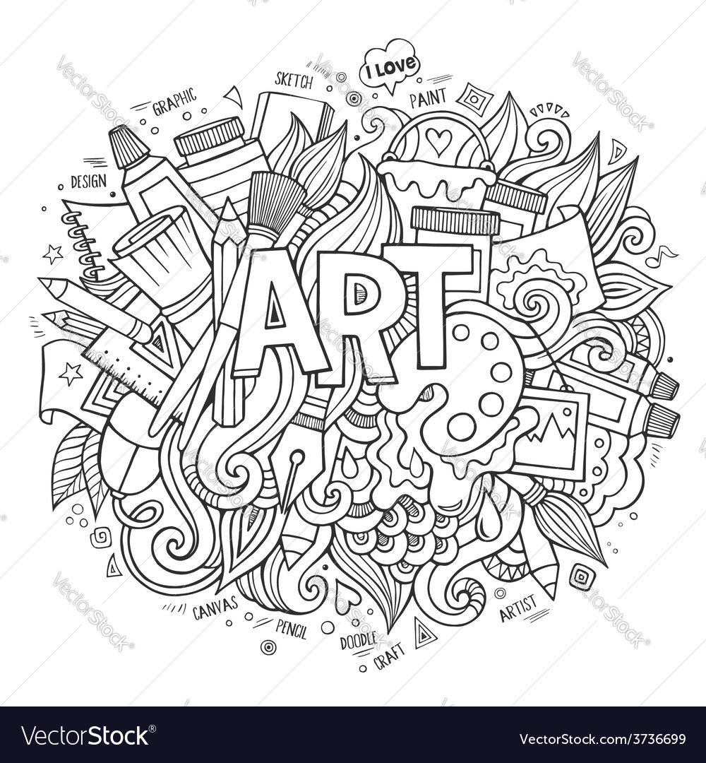 Art hand lettering and doodles elements vector | Price: 1 Credit (USD $1)