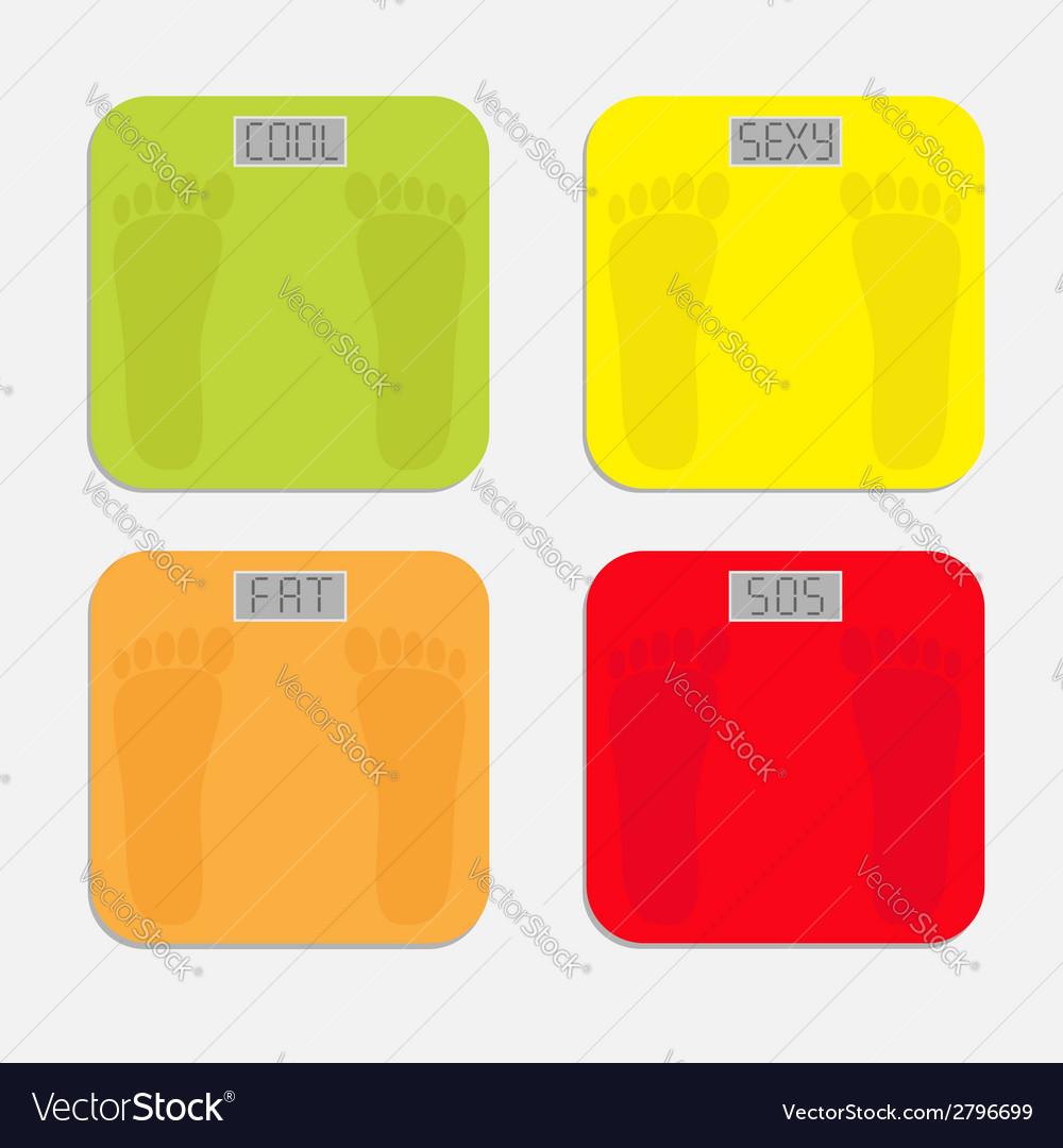 Bathroom floor electronic weight scale set vector | Price: 1 Credit (USD $1)